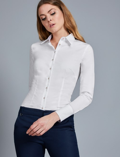 Womens White Shirts womenu0027s white fitted stretch shirt with contrast detail - single ... QJSWXAU
