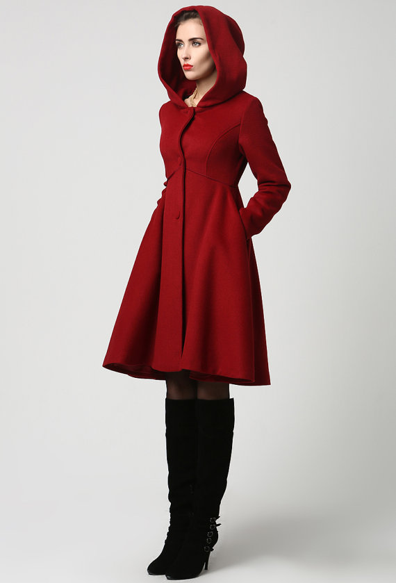 wool coat winter coat red coat hooded coat women coat ILECJLF