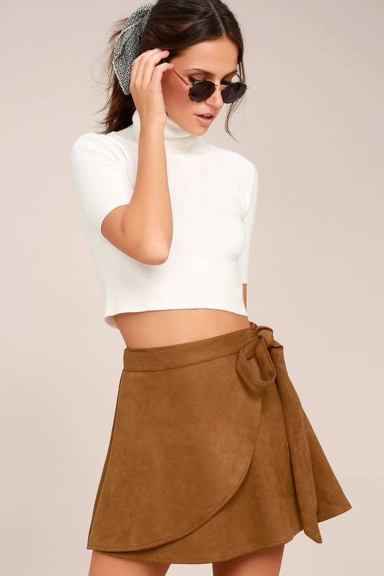 wrap to it tan suede wrap skirt EHRSTOQ