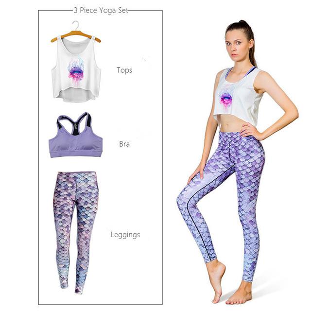 Yoga clothes for Women umlife yoga set 3 piece suit floral yoga clothes for women high-end woman  fitness LGYWKSE